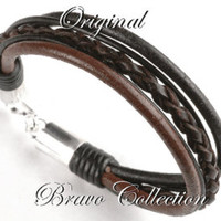 5B-234 BRAVO & CO Solid 925 Sterling Silver Leather Wristband Men Bracelet. - Edit Listing - Etsy
