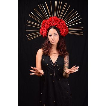 Red & Gold Spike Crown #L1017