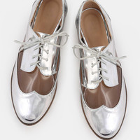 Almond Toe Metallic Clear Oxfords SILVER | MakeMeChic.COM