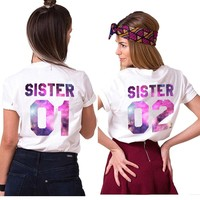 Gift for Sister Matching Sister 01 02 Shirts Girls Bff T-Shirt Femme Tumblr Women Summer Clothes T Shirt Cotton Best Friend Tees