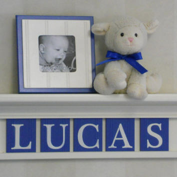 "Baby Boy Nursery - Custom Wall Shelves -  24"" Linen (Off White) Shelf and 5 Blue Wall Letter - Personalized for LUCAS"
