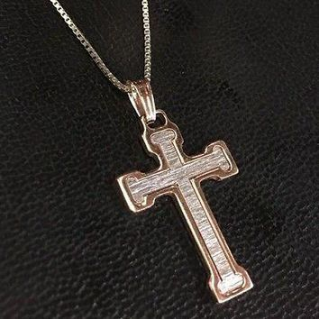 """14K W & Rose Gold Layer 925 Solid Silver Flat Cross Charm Pendant Free Chain 18"""""""