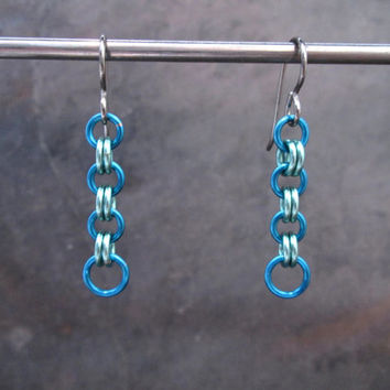 Chain Earrings, Chainmaille Earrings, Hypoallergenic Earrings, Titanium Earrings, Chain Mail, Chainmail, Chain Maille, Turquoise and Green