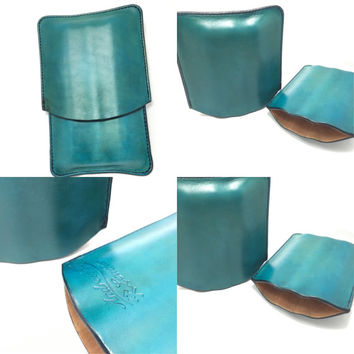 Basic Turquoise Leather Cigar Case - Spanish cedar lined ready to ship