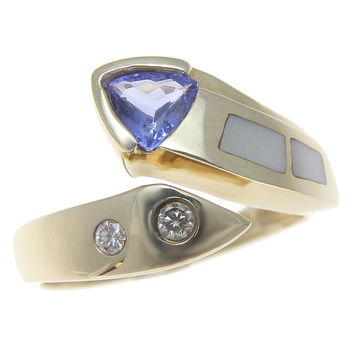 0.45CT GENUINE TRILLION TANZANITE MOTHER OF PEARL DIAMOND RING HEAVY 14K GOLD