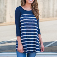 Only Time Will Tell Tunic, Navy