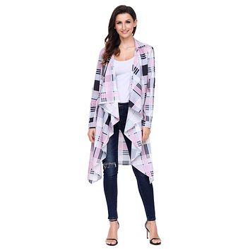 Chicloth Pink Hipster Plaid Draped Open Front Cardigan