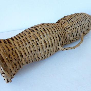 Vintage French Wicker Eel Trap, Basket