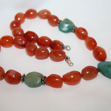 Vintage Necklace Turquoise Agate,  Gemstone Necklace, 1970s Jewelry
