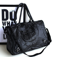 Rinsed Denim Bags Black Rivet Simple Design Vintage Soft Shoulder Bags [4915814980]
