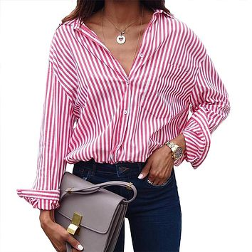 2018 Summer Women Shirt Hot Sale Turn Down Collar Full Sleeve Europe and America Large Size 5XL OL Stripes Print Blouses 6180