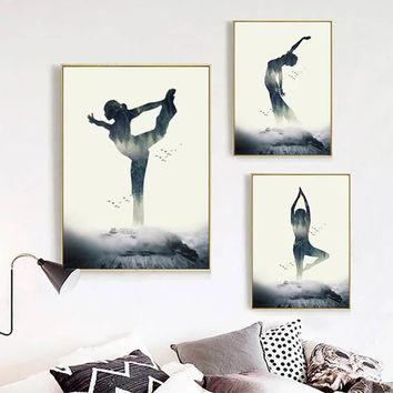 SURE LIFE Indian Style Abstract Lady Yoga Pattern Poster Canvas Paintings Print Wall Art Picture Bedroom Living Room Home Decor