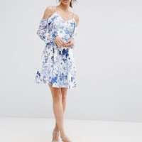 Boohoo Floral Print Cold Shoulder Skater Dress at asos.com