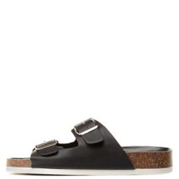 Black Two-Buckle Footbed Slide Sandals by Charlotte Russe