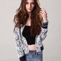 Blue and White Porcelain Print  Knitted Jacket