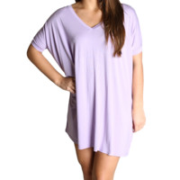 Lilac Piko Tunic V-Neck Short Sleeve Top