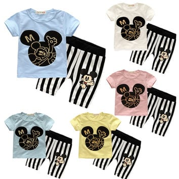 Summer Baby Boy Clothes Set Cotton Short-sleeved Mickey T-shirt+striped pants 2pcs Newborn Baby Girl Clothing Set Sport Suits