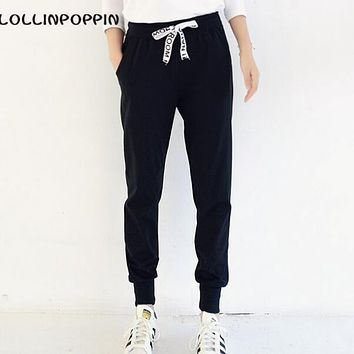Women Joggers Black Jogger Pants New 2017 Ladies Sweatpants Low Crotch Elastic Waist Casual Pants Plus Size Free Shipping