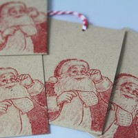 Checking His List Santa Hand Stamped Gift Tag or Party Favor Tags Set