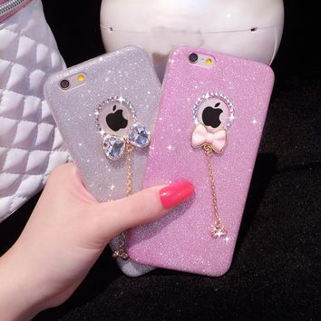 6 S 6s case Luxury Shiny bowknot for iphone 5 5s 6 6plus Rhinestone Crystal PC Bling Case Cover Diamond Cover Phone case