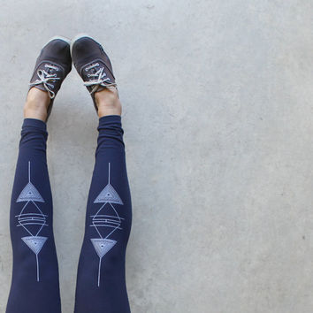 Element leggings - high waisted leggings - element symbols screenprint on navy blue jersey spandex - womens leggings - Blackbird Tees