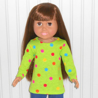 18 inch Girl Doll Green Tee Shirt with Polka Dots Long Sleeve Knit Shirt American Doll Clothes