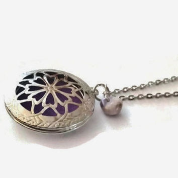 Sale - Amethyst Aromatherapy Locket Necklace, Essential Oil Diffuser Necklace, February Birthstone, Unique Birthday Gift