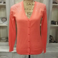 BLING SPRING SHOWERS CARDI IN CORAL