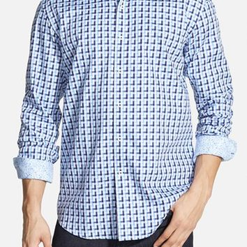 Men's Bugatchi Shaped Fit Geometric Sport Shirt