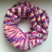 Chunky Extra Long Infinity Scarf • Acrylic Yarn • Oversized Scarf • Knit Scarf • STANDARD Knit • Thick Winter Scarf • Lovely Purples •