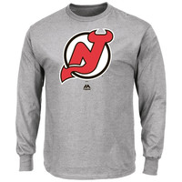 Majestic New Jersey Devils Primary Logo Long Sleeve T-Shirt - Ash