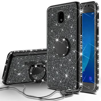 Samsung Galaxy J3 2018, J3 V 3rd Gen, J3 Orbit, Express Prime 3, SM-J337A Case, J3 Star, J3 Achieve, J3 Aura, Amp Prime 3, Glitter Cute Phone Case Girls with Kickstand, Bling Diamond Rhinestone Ring Stand Luxury Thin Soft Cover for Women - Black
