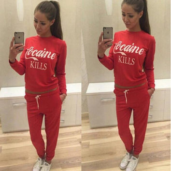 Women Sportswear Autumn Winter Printed Letter Tracksuits Long-sleeve Casual Track Suit Costumes Mujer 2 Piece Set Pullover Pants