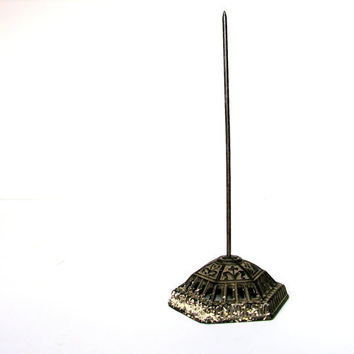 Antique Office Spindle Pierced Eastlake Victorian Metal Base Vintage Paper Spike Industrial Office Supply