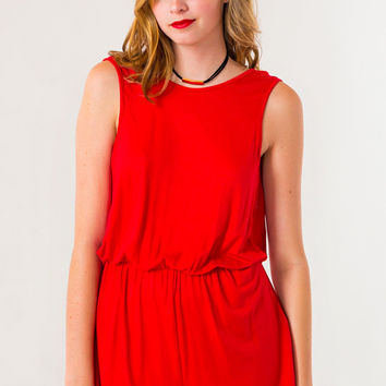 Take It On Back Romper in Red