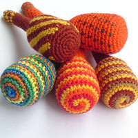 Baby rattle, soft cotton crochet toy, striped, brown, red, yellow