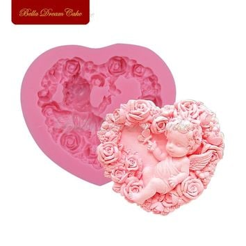 Rose Angel Craft Art Silicone Soap Mold 3D Craft Molds DIY Fimo Resin Clay Candle Molds Fondant Handmade Soap Moulds Bakeware