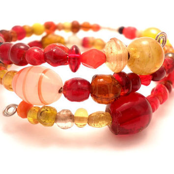 Wrap Around Bracelet in Orange and Red by Septagram on Etsy