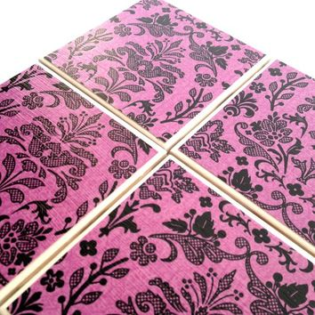 Purple and Black Damask Ceramic Tile Coaster