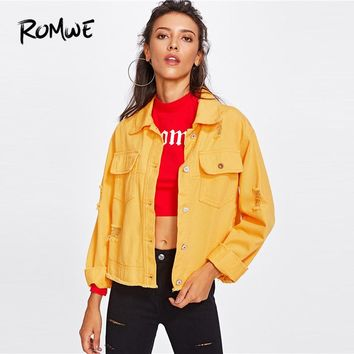 ROMWE Slit Side Frayed Denim Jacket Casual Breasted Women Ripped Yellow Basic Coat Spring Fall Collar Long Sleeve Jacket