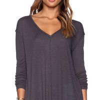 Free People Solid Sahara Top in Charcoal