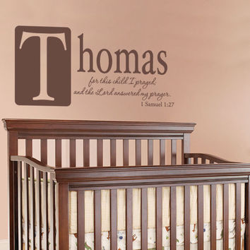 Boys Room Wall Quote Personalized With Name - For This Child I Prayed Vinyl Decal For Girl Or Boy Baby Nursery Wall Art 18H x 36W CN020