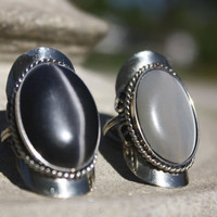 Ying-Yang Alpaca Ring set