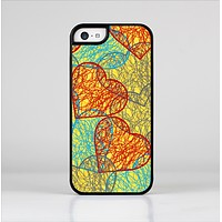 The Squiggly Red & Blue Hearts Over Yellow Skin-Sert Case for the Apple iPhone 5c
