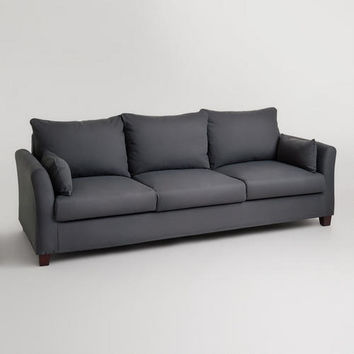 Charcoal Canvas Luxe 3-Seat Sofa Slipcover | World Market