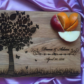 Personalized Cutting Board for Wedding Gift,Custom Engraved Cutting Board Wedding Gift Anniversary Cutting Board Love Tree Board