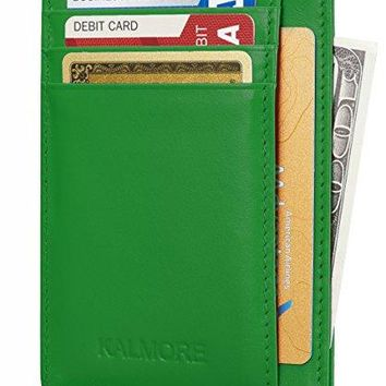 RFID Blocking Slim Credit Card Holder Thin Minimalist Front Pocket Genuine Leather Wallet with ID card Window