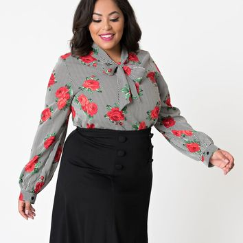 Folter Plus Size Black & White Striped Red Rose Long Sleeve Bow Blouse