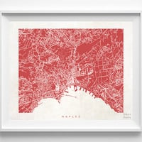 Naples, Italy, Print, Map, Poster, State, City, Street Map, Art, Decor, Town, Illustration, Room, Wall Art, Customize, Dorm, Bed Room