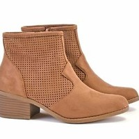 Womens Ankle Boots Chunky Low Heel Bootie Zip Up Perforated Almond Toe Shoes New